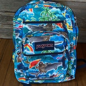 Jansport backpack 🎒 sloth riding a 🦈